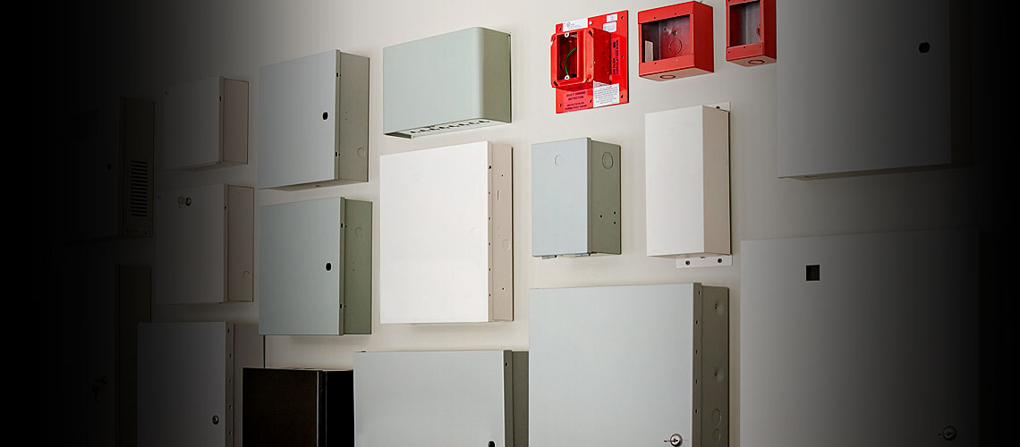 Sheet metal enclosures for the security, fire, telecommunication and home automation industries